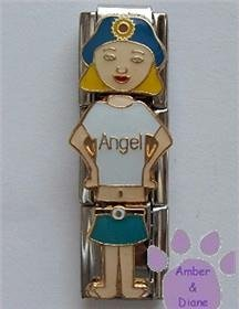 "Little Girl ""Angel"" Triple Link Italian Charm with Blond Hair"
