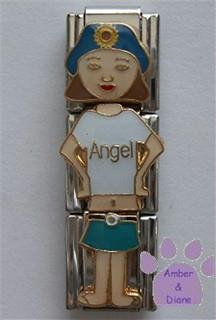 "Little Girl ""Angel"" Triple Link Italian Charm with Brown Hair"