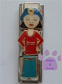 "Little Girl ""Brat"" Triple Link Italian Charm with Black Hair"