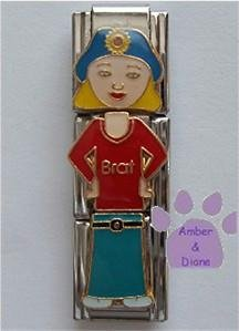 "Little Girl ""Brat"" Triple Link Italian Charm with Blond Hair"