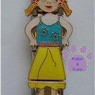 Quadruple Link Little Girl Italian Charm in pigtails