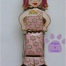 Quadruple Link Little Girl Italian Charm in pink flowered outfit