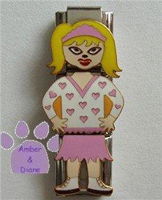 Triple Link Little Blond Girl Italian Charm in pink hearts top