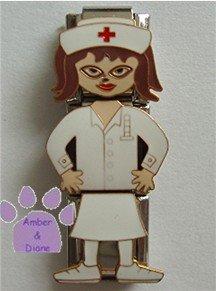 Triple Link Nurse Italian Charm in her white uniform