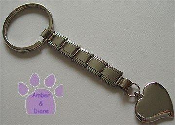 Shiny Silver tone HEART Italian Charm Key Chain with Key Ring