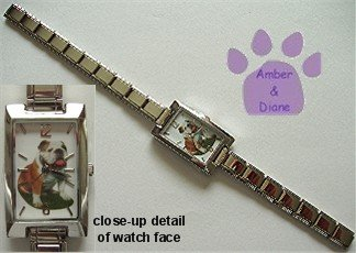English Bull Dog Rectangular Italian Charm Silvertone Watch