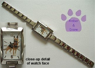 German Shepherd Dog Rectangular Italian Charm Silvertone Watch