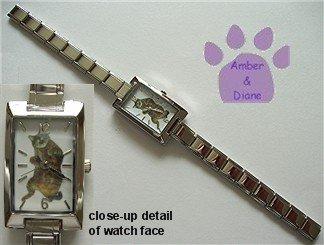 Orange Tabby Cat Rectangular Italian Charm Silvertone Watch