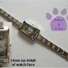 Siamese or Himalayan Cat Rectangle Italian Charm Silvertone Watch