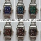 Color Changing RECTANGULAR Mood Italian Charm Watch Silver tone