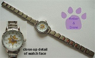 Round Italian Charm Silvertone Watch 7-Point Star Badge on face