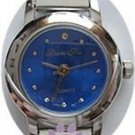 Electric Blue Silvertone Italian Charm Watch with 15 links