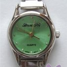 Green Silvertone Italian Charm Watch with 15 links