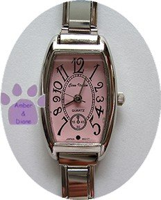 Pink Rectangular Silver tone Italian Charm Watch