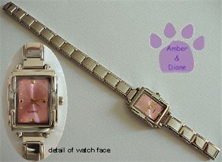 Pink Rectangular Silvertone Italian Charm Watch with 16 links