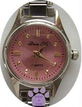 Pretty Pink Silvertone Italian Charm Watch with 15 links