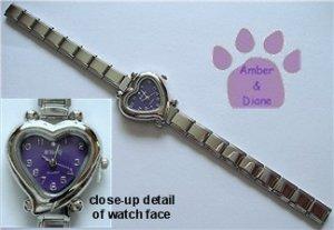 Purple Heart Italian Charm Silvertone Watch with crystal on face
