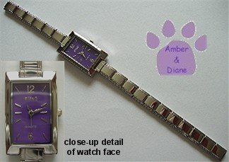 Rectangular Purple Silvertone Italian Charm Watch with 17 links