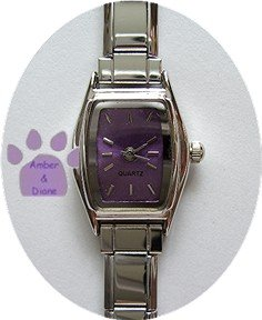 RECTANGULAR Violet Italian Charm Watch Silver tone