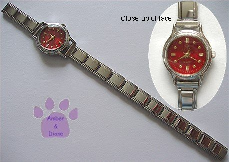 Red Silvertone Italian Charm Watch with 15 links & bars on face