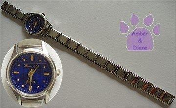 Round Deep Vivid Blue Silver tone Italian Charm Watch
