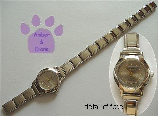 Silvergray Silvertone Italian Charm Watch 15 links with circles