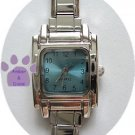 SQUARE Light Blue Italian Charm Watch Silver tone