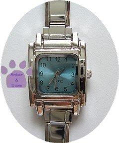 SQUARE Light Blue Italian Charm Watch Silver tone