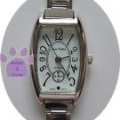 White Rectangular Silver tone Italian Charm Watch