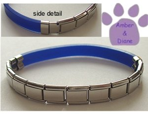 Electric Blue Rubber Italian Charm Starter Bracelet