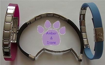 Fuschia Rubber Italian Charm Starter Bracelet that Snaps Open