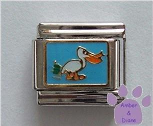 Pelican Italian Charm on Sky Blue Enamel