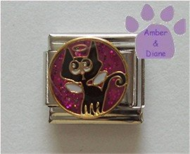 Angel Kitten Italian Charm - Cat with Wings and a Halo on purple