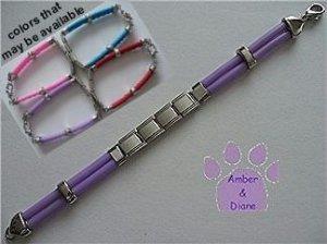 Purple Rubber Italian Charm Starter Bracelet Lobster Claw Clasp
