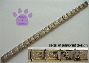 Shiny Silvertone Puffed Pawprint Italian Charm Starter Bracelet