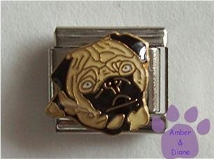 Black and Tan Pug Puppy Dog Italian Charm