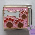 Doggy Bone and Paw Prints Italian Charm on Pink Glitter