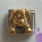 Gold Tone 3-D Dog Italian Charm