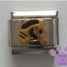 Horse's Head Italian Charm in Gold tone