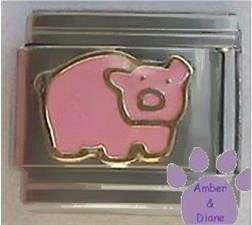 Pink pig Italian charm OINK OINK