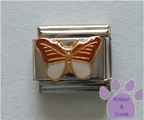 Butterfly Italian Charm Brown and White