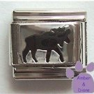 Moose Enamel Italian Charm Black on silvertone background