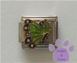 August BUTTERFLY Birthstone with green-peridot glitter wings