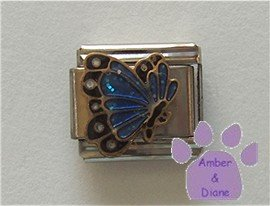 December BUTTERFLY Birthstone with blue-zircon glitter wings
