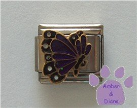 February BUTTERFLY Birthstone with deep purple-amethyst glitter