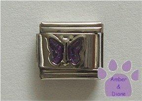 Glitter Butterfly Birthstone Italian Charm Amethyst February