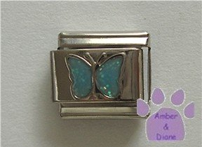Glitter Butterfly Birthstone Italian Charm Aquamarine-blue March