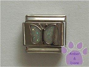 Glitter Butterfly Birthstone Italian Charm Diamond-White  April