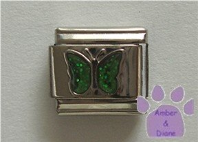 Glitter Butterfly Birthstone Italian Charm Emerald-Green for May