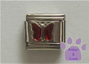 Glitter Butterfly Birthstone Italian Charm Garnet-Red  January